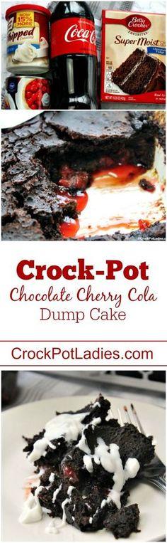 4 Ingredient Crock-Pot Chocolate Cherry Cola Dump Cake #5IngredientsOrLess