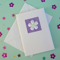 Wedding Card white satin flower  lilac Card for Bride and