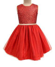 Scarlet Red Glitter Dress - Infant Toddler & Girls