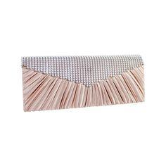 Women's Jacki Design Glitzy Rhinestone Satin Clutch - Rose Purses ($25) ❤ liked on Polyvore featuring bags, handbags, clutches, pink, pink handbags, rhinestone studded handbags, brown handbags, rose purse and rhinestone handbags