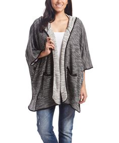 Loving this Heather Gray Hooded Open Cardigan on #zulily! #zulilyfinds