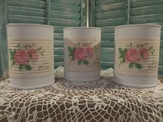 Shabby Chic Painted Tin Cans in Lavender by KJsTinCanTreasures, $18.00