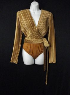 Vintage 80s Jeanne Marc Glam Chic Diva Gold Bodysuit Top Wrap Blouse ML.  via Etsy.