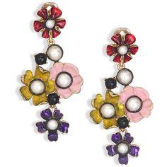 Oscar de la Renta Floral Resin & Faux Pearl Drop Earrings (468,095 KRW) ❤ liked on Polyvore featuring jewelry, earrings, apparel & accessories, drop earrings, faux pearl earrings, oscar de la renta jewelry, flower jewelry and gold tone earrings