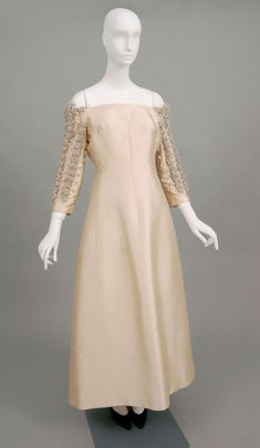 Evening Dress, Taupe silk unbalanced plain weave; rhinestones; translucent and pink plastic beads, metallic silver-plated sequins, silver plastic or metal wrapped off-white silk thread, Lanvin, 1970's