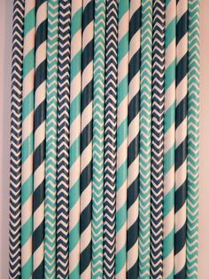 50 Paper Straws Aqua and Navy Blue Striped + Chevron Straw Mix, Navy Mason Jar Straws Rustic Wedding Straws Kids Birthday Bridal Baby Shower $5.99