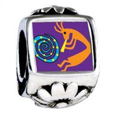 Kokopelli Dance Photo Flower Charms  Fit pandora,trollbeads,chamilia,biagi,soufeel and any customized bracelet/necklaces. #Jewelry #Fashion #Silver# handcraft #DIY #Accessory