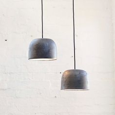 Ceramic pendants // large charcoal potter lights by Bruce Rowe of Anchor Ceramics. 200mm H x 320mm dia.