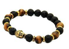 Amazon.com: JY Jewelry Unisex Lava Stone beads Gold Buddha Black Yoga Bracelet: Jewelry