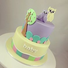 Babyshower Owl Cake  Cake by Word of Mouth Cakes Pink Hoot Owl Cake Owl Cake — Children's Birthday Cakes party Girl Boys Kid Kids