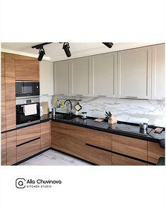 Modern Kitchen Interiors, Modern Kitchen Design, Interior Design Kitchen, Home Design, Kitchen Tops, Kitchen Cabinets, Living Room Kitchen, Kitchen Decor, House Extension Design