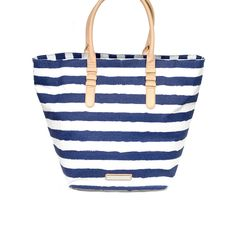 navy and white tote bag