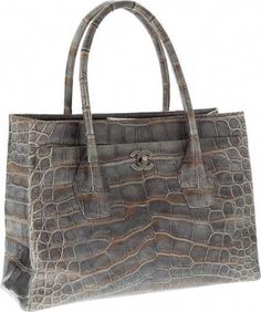 da2e2bb07aa708 Chanel Metallic Silver Crocodile Oversize Cerf Tote Bag with Burnished  Silver Hardware