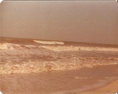 The waves crashing at a beach, perhaps Virginia Beach ~1970s
