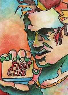 LOVE THIS MOVIE!! Tyler Durden Fight Club Watercolor Sketch Card by artist Todd Beistel