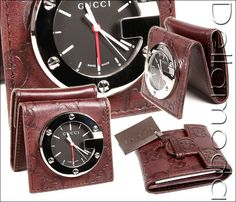 Gucci Limited Edition Brown Travel Desk Alarm Clock/Watch (GGC1) GG leather logo folds and opens. A must have for any GUCCI collector & lover, a rare & limited edition item, only 500 made.  Makes a great gift for anyone. Comes with all tags seria