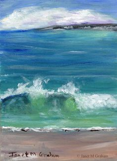 a3a4f20f43b Items similar to Seascape 2 ACEO Beach Seascape Waves Ocean Sea Original  hand painted acrylic seascape ACEO painting by Australian Artist Janet M  Graham on ...
