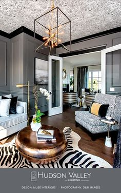 Gorgeous living room featuring a Glendale chandelier.