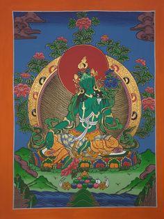 Thangka Painting, Green Tara, Hanging Canvas, Tibetan Buddhism, Hand Painted Canvas, Deities, Nepal, Mandala, Artwork