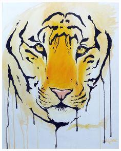 An orange tiger painted with acrylic paint in a graffiti style by UK artist Amber Rose O'Sullivan - www.amberroseosullivan.co.uk