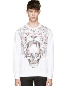 White Lion And Skull Embroidered Sweatshirt. How cool is this!