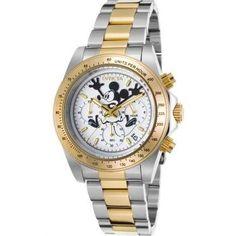 Invicta 22865 Men's Disney Ltd Edition Chrono Two-Tone Stainless Steel White Dial Watch, Silver