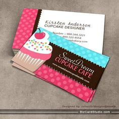 Whimsical cupcake business cards this great business card design is cute and whimsical cupcake bakery business cards accmission Choice Image