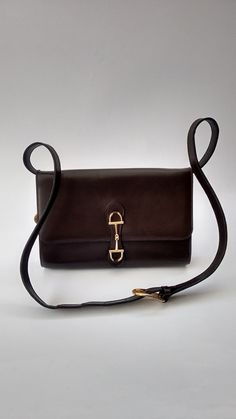 dcd123b9a0 CELINE Bag. Celine Vintage Brown Leather Shoulder   Clutch Bag. French  designer purse.