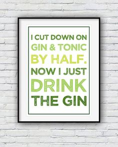 Gin Gifts Gin and Tonic Gin Poster Kitchen wall art by Redpostbox