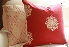 Designer Red Linen with Ivory White Embroidered Suzani Snowflake Decorative 18x18 Throw Toss Pillow Cover Classic Country  Holiday Christmas...