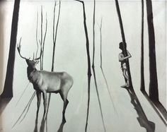 """Samuel Jan, A Curious Moment, 22""""x18"""" charcoal on paper $800 (framed) SOLD"""