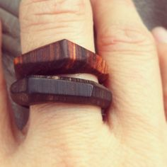 Set of Modern Geometric Stacking Wood Rings by SLANTT on Etsy, $69.00
