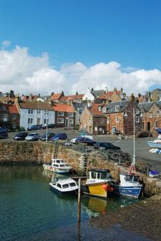 Fishing boats in the Scottish coastal village of Crail, Scotland, East Neuk of Fife, UK, GB, EU, Europe