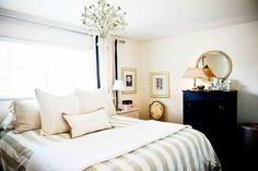 Cream, black and gold bedroom decor