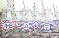 Anchor Away Nautical Birthday Party Water Bottle by EllaJaneCrafts, $5.00