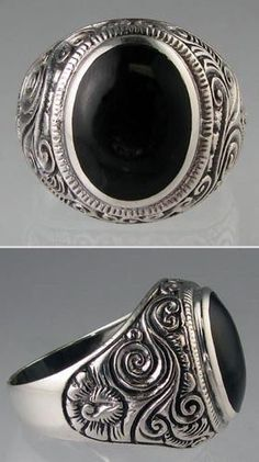 New Genuine .925 Sterling Silver Mens 12.1 grams Bold Black Onyx Ring Sizes 9-13 #Band #men'sjewelry