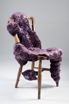 """""""Charlotte Kingsnorth's Hybreed collection continues to evolve from the mixture of vintage furniture frames and fleshy biomorphic forms. Chair frames are either hand selected by the designer or privately donated. A mixture of instinct and the character of the frame informs the designer when shaping the cushioning that makes up its body. The chairs are hand sculpted and stitched at her London studio. Every chair in the collection is one of a kind."""""""