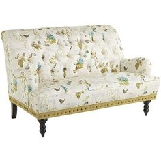 Our favorite chaise has gotten a floral makeover. The plush, tufted design features beautiful botanicals, accented with a soft script on a warm neutral background. Add a complementary lamp and you have the perfect place to enjoy a hot cup of coffee.