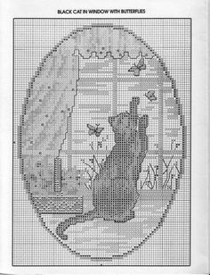 Black cat in window with butterflies Blackwork Cross Stitch, Cat Cross Stitches, Cross Stitch Tree, Just Cross Stitch, Beaded Cross Stitch, Cross Stitch Animals, Cross Stitch Charts, Cross Stitching, Cross Stitch Embroidery