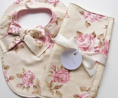 Baby bib and burp cloth set Floral baby bib Rose by FHJBaby, etsy