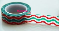 Green & Red waves Washi Tape Roll Adhesive Stickers