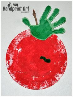 We stamped a paper plate using a common household product then turned it into a paper plate apple handprint craft. Perfect for Johnny Appleseed Day or Fall.: We stamped a paper plate using a common household product then turned it into a paper plate apple handprint craft. Perfect for Johnny Appleseed Day or Fall.
