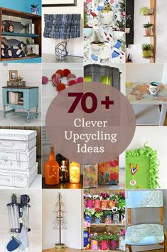 A collection of over 70 cool and clever upcycling ideas using everyday objects from tin cans and crates to denim and chairs. They're should be something here to inspire everyone. All ideas are very affordable and easy. #upcyclingideas #upcycling Homemade Crafts, Crafts To Make, Diy Crafts, Repurposed Items, Upcycled Crafts, Easy Diy Projects, Craft Projects, Craft Ideas, Upcycle Home
