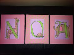 Zoo themed name canvas art for girl`s room. Can be made to order from Signs By Design. Email info@signsbydesign.ca for more info.