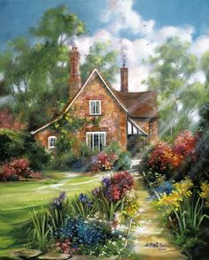 arrival DIY Diamond Painting landscape Forest hut Round Full Diamond Mosaic Cross Stitch Kits Embroidery Home Decor Storybook Cottage, Cottage Art, Garden Cottage, Landscape Art, Landscape Paintings, Art Paintings, Painting Art, Belle Image Nature, Thomas Kinkade Art