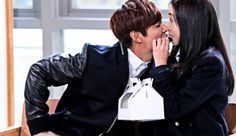 """Sharing a donut is yet another example of a kdrama kiss that involves food. """"The Heirs"""" has added another tasty kiss to the list of famous food-focused kdrama kisses. The Heirs Kdrama, Heirs Korean Drama, Lee Min Ho Kdrama, Korean Dramas, Choi Jin Hyuk, Kang Min Hyuk, Asian Actors, Korean Actors, Lee Min Ho Kiss"""