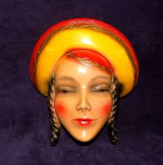Vintage Woman String Holder Chalkware Chalk Bright colors!..1940's...