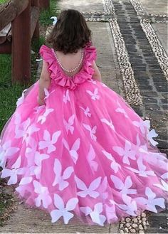 Magbridal Marvelous Tulle & Satin Scoop Neckline Ball Gown Flower Girl Dress With Handmade Butterflies & Beadings