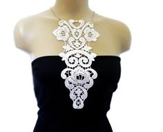 Lace Necklace Crochet necklaceWhite Luxury Handmade by HAREMDESIGN, $38.00