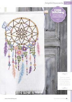 Borduurpatroon Kruissteek Dromenvanger *Embroidery Cross Stitch Pattern Dreamcatcher ~met Bloemen 1/4~